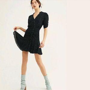 Free People Pippa Polka Dot Mini Dress Black NWT